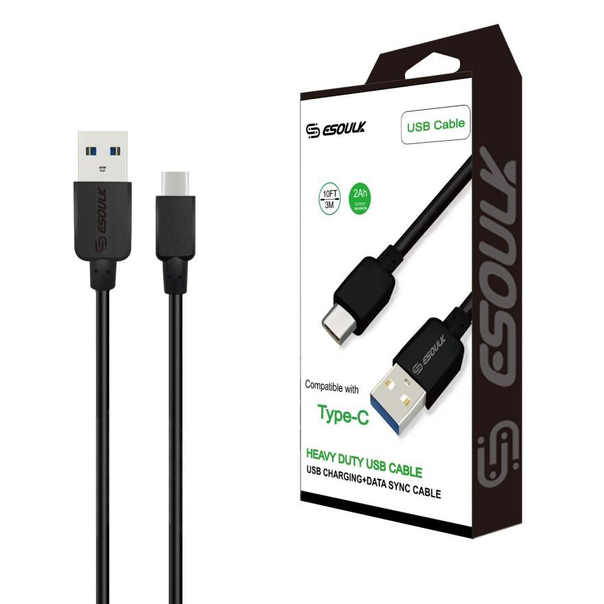 EC38P-TPC-BK: Esoulk 2A Heavy Duty USB Cable 3M (10ft)Black