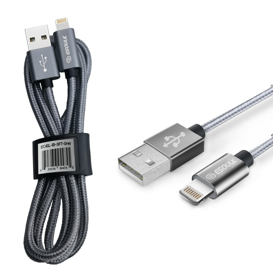 EC41L-IP-SV Esoulk 【3.3ft/1m】Nylon Braided USB Cable for iPhone