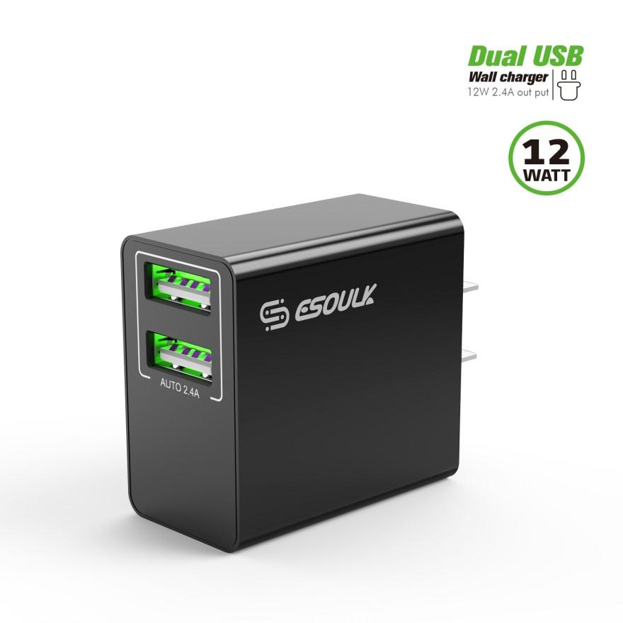EA10P-BK:12W 2.4A Dual USB Wall Adapater Black