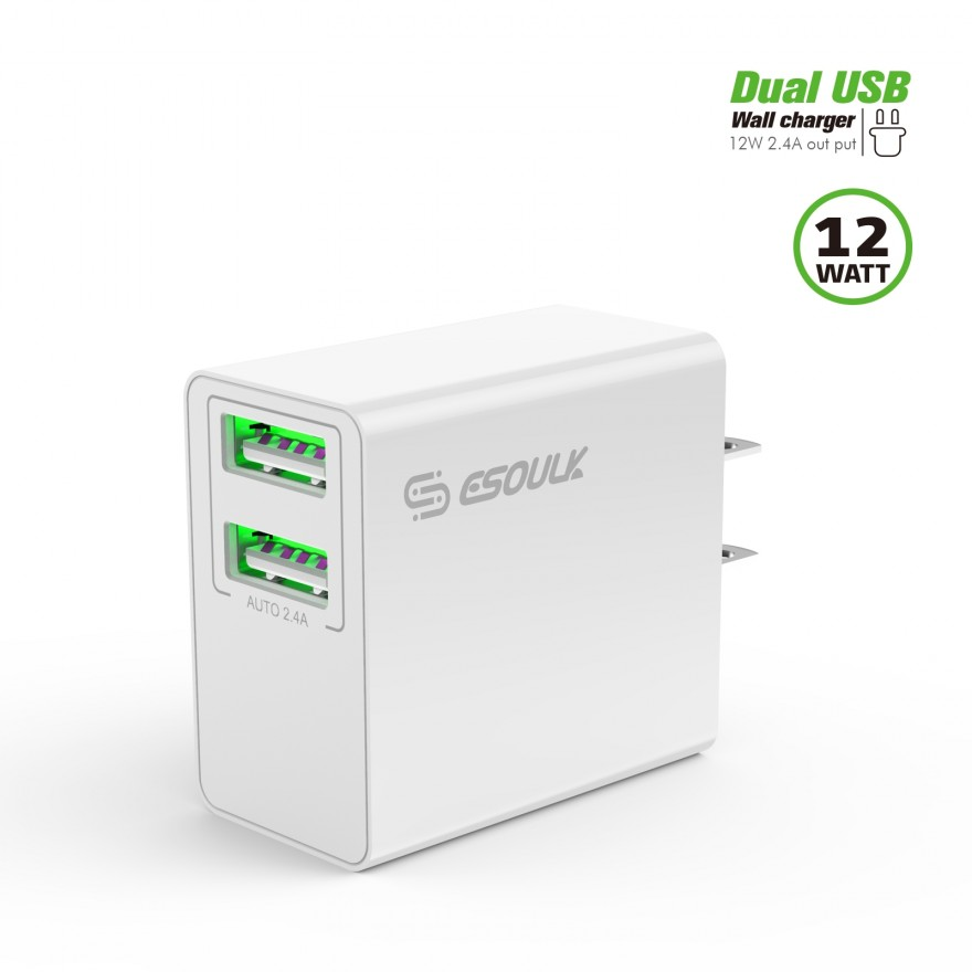 EA10P-WH:12W 2.4A Dual USB Wall Adapter White