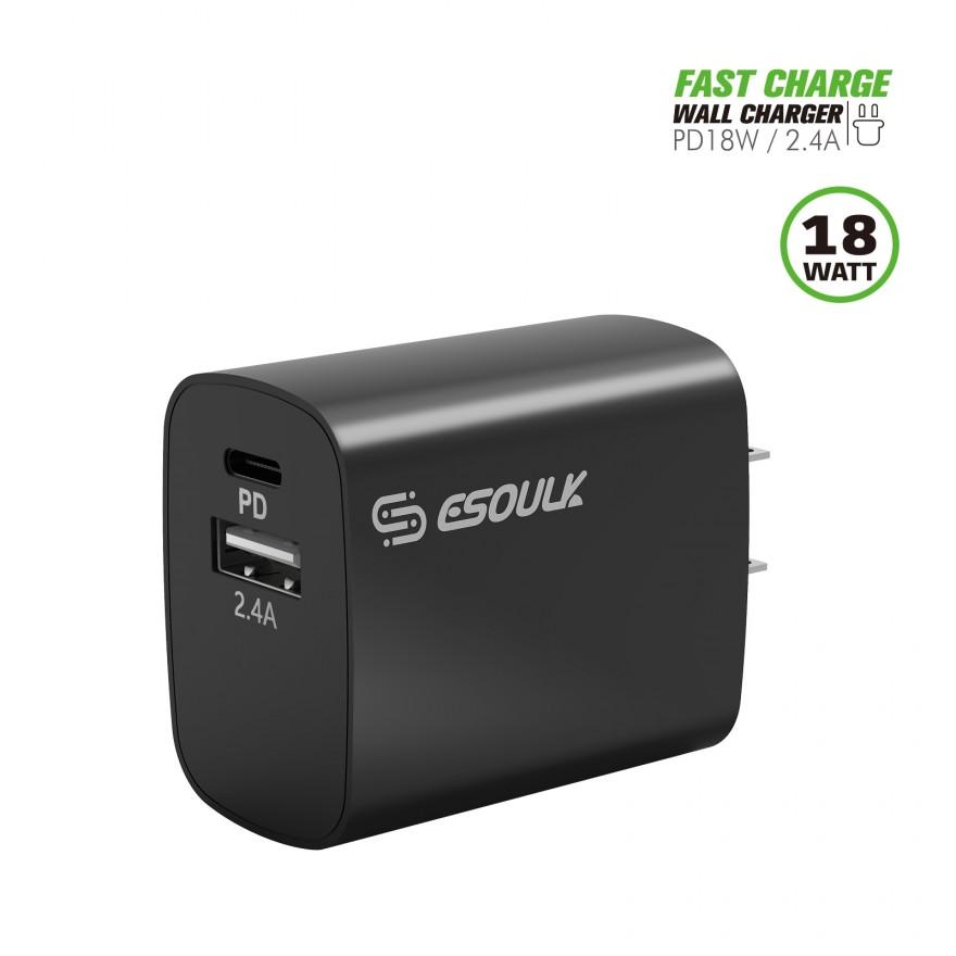 EA12P-BK:18W PD & USB-A Wall Adapater Black