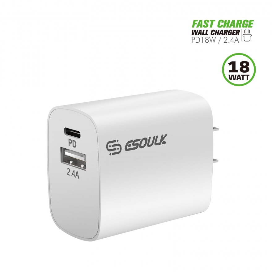 EA12P-WH:18W PD & USB-A Wall Adapater White