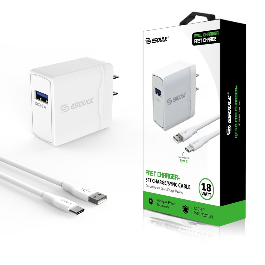EC07P-TPC-WH: 18W QC3.0 Fast Charger Wall Charger & 5ft Cable For Type-C-White