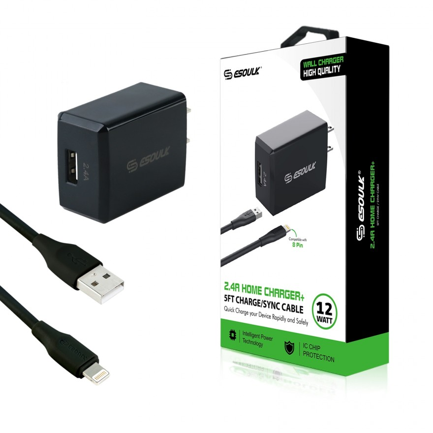 EC08P-IP-BK:12W 2.4A Wall Charger & 5ft Cable For iPhone-Black