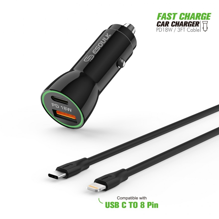 EC09P-CL-BK:18W Car Charger PD & USB-A With 3ft C to IPhone Cable Black