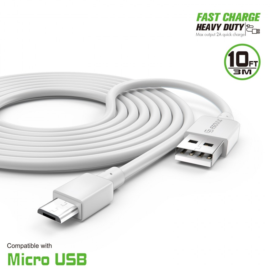 Original SM-W627 10FT USB to Type-C Charging and Transfer Cable. WHITE // 3Mt