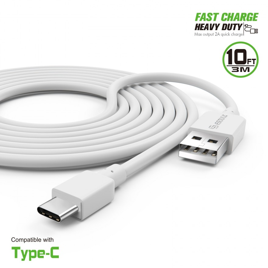 EC38P-TPC-WH: 10FT Heavy Duty USB Cable 2A For Type-C White