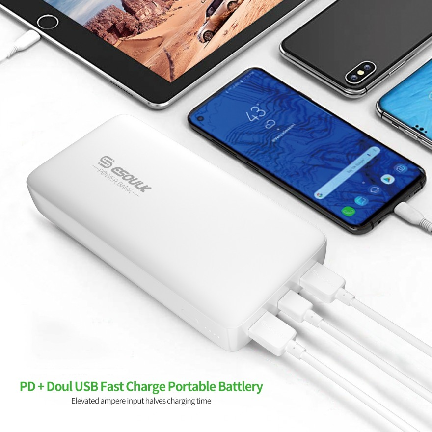EP04P-WH: 54W 22000mAh PD & Dual Fast Charge USB Power Bank White
