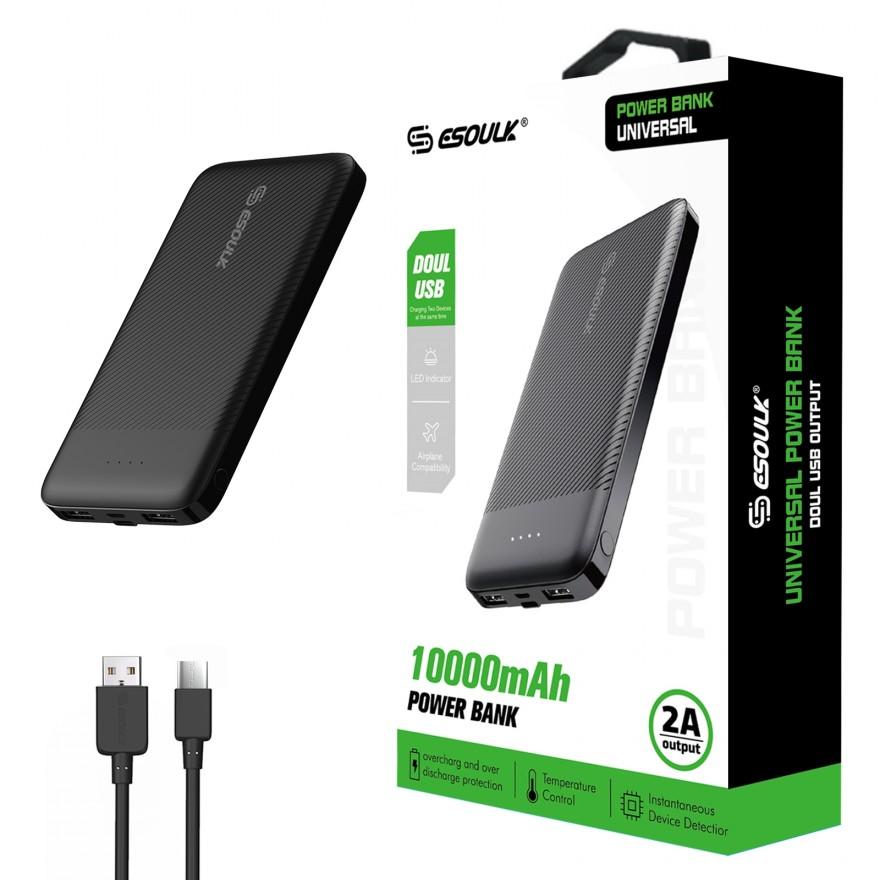 EP06P-BK:10000mAh 2A Output &Doul USB Power Bank Black