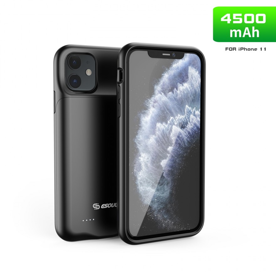 EP21-11-BK:4500 mAh TPU Rubber Battery Case Compatible Headset For iPhone 11 Black
