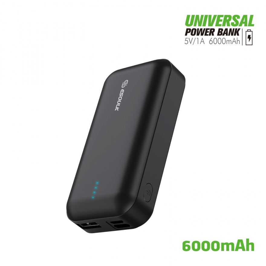 EP25P-BK: 6000 mAh UNIVERSAL POWER BANK