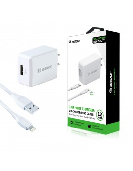EC08P-IP-WH:12W 2.4A Wall Charger & 5ft Cable For iPhone-White