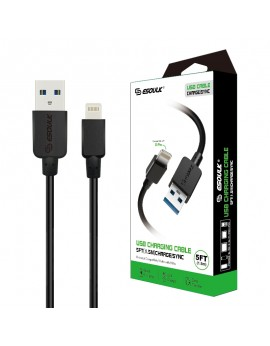 EC30P-IP-BK:Esoulk 5ft  Faster Speed Charging Cable For IOS-Black