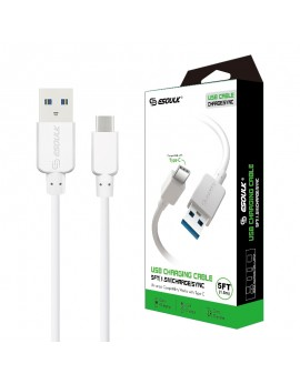 EC30P-TPC-WH: Esoulk 5ft  Faster Speed Charging Cable For Type-C White