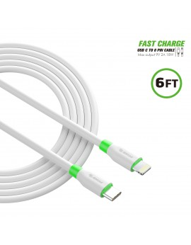 EC34P-CL-WH:6FT PD Fast Charge USB-C to iPhone Cable White