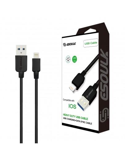 EC38P-IOS-Black Esoulk 2A Heavy Duty USB Cable 3M (10ft)