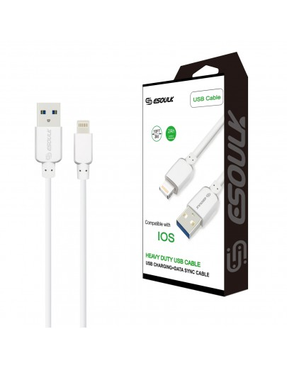 EC38P-IOS-White Esoulk 2A Heavy Duty USB Cable 3M (10ft)