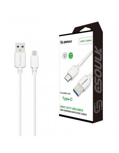 EC38P-TPC-WH: Esoulk 2A Heavy Duty USB Cable 3M (10ft)White