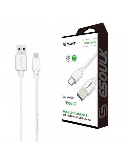 EC38P-TPC-White Esoulk 2A Heavy Duty USB Cable 3M (10ft)