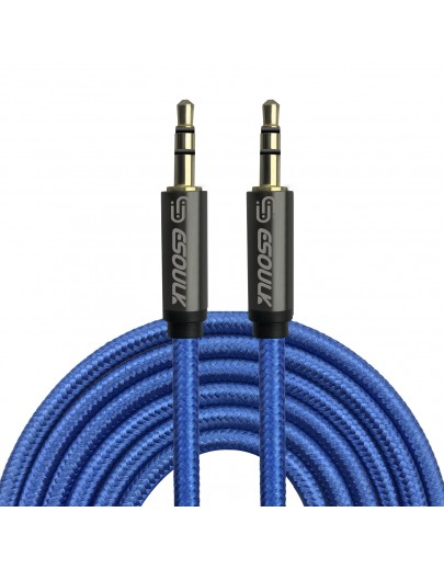 EC31P-AX-BU: Esoulk 3M [10ft] Nylon Fabric Tangle-Free Male to Male 3.5mm Auxiliary Cable Blue