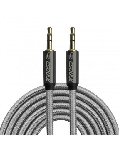 EC31P-AX-SV: Esoulk 3M [10ft] Nylon Fabric Tangle-Free Male to Male 3.5mm Auxiliary Cable Silver
