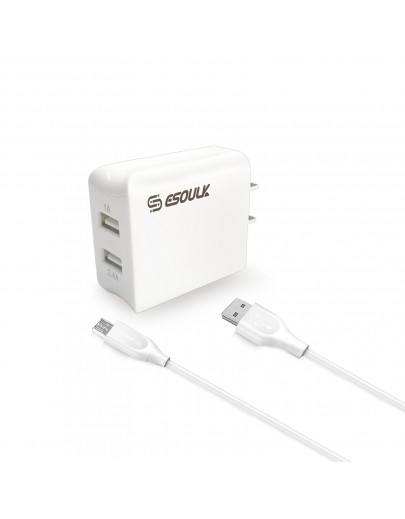 EC44P-MU-WH Esoulk 12W 2.4A Dual USB Travel Wall charger With 5FT  Micro USB Charging Cable