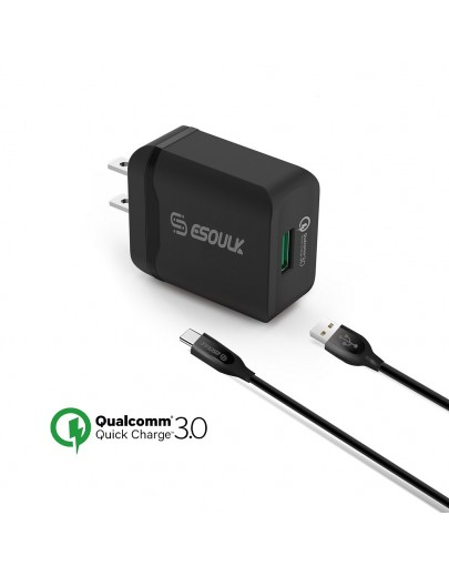 EC03P-TPC-BK: Esoulk 18W QC3.0 Quick Charger Wall charger with 5ft Cable For Type-C [Qualcomm Certified]