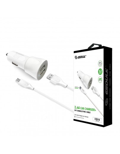 EC43P-MU-WH Esoulk 12W 2.4A Dual USB Travel Car charger With 5FT  Micro USB Charging Cable
