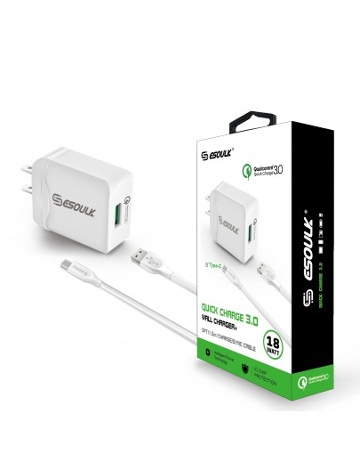 EC03P-TPC-WH: Esoulk 18W QC3.0 Quick Charger Wall charger with 5ft Cable For Type-C [Qualcomm Certified]