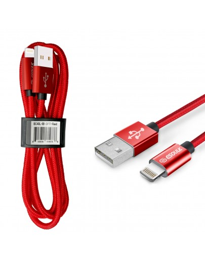 EC41L-IP-Red Esoulk 【3.3ft/1m】Nylon Braided USB Cable