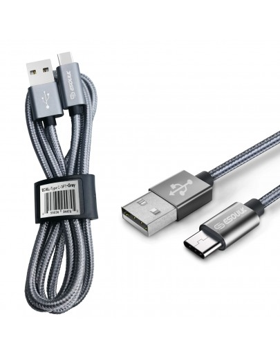 EC41L-TPC-Gray Esoulk [3.3ft/1m] Nylon Braided USB Cable