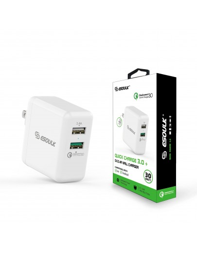 EA06P-WH:Esoulk 30W Dual USB 2.4A With QC3.0 Fast Charger Wall Adapater[Qualcomm Certified]