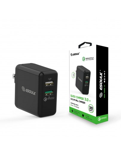 EA06P-BK: Esoulk 30W Dual USB 2.4A With QC3.0 Fast Charger Wall Adapater[Qualcomm Certified]