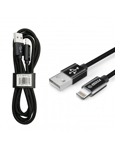 EC41L-IP-BK Esoulk 【3.3ft/1m】Nylon Braided USB Cable for iPhone