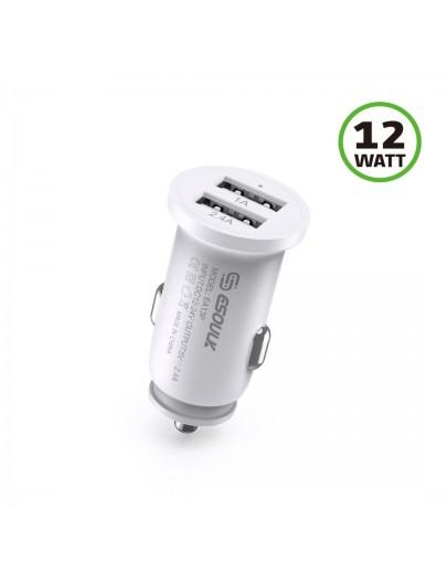 EA13-WH: 2.4A Dual USB Car Adapter