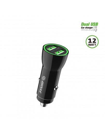 EA09P-BK:12W 2.4A Dual USB Car Adapter Black