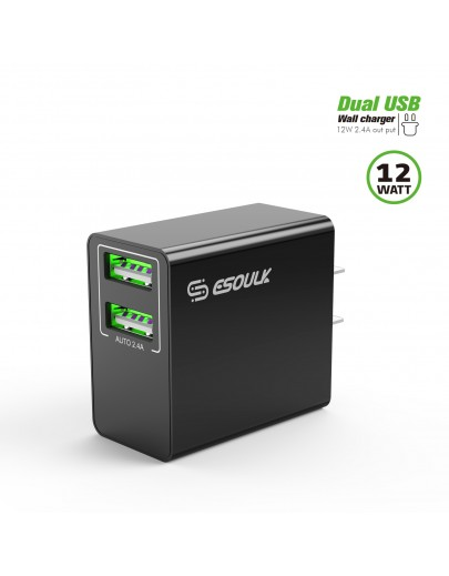 EA10P-BK:12W 2.4A Dual USB Wall Adapater Black