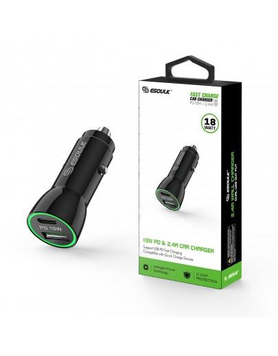 EA11P-BK:18W PD & USB-A Car Adapter Black