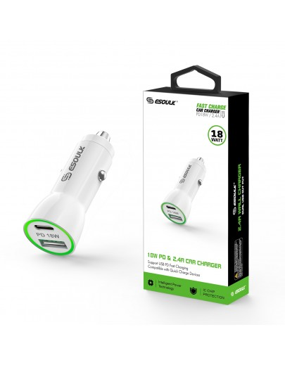 EA11P-WH:18W PD & USB-A Car Adapter White