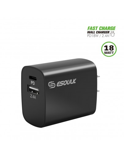 EA12P-BK:18W PD & USB-A Wall Adapater Black
