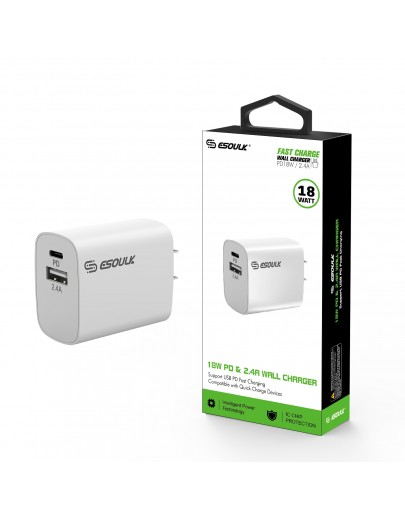 EA12P-WH:18W PD & USB-A Wall Adapter White
