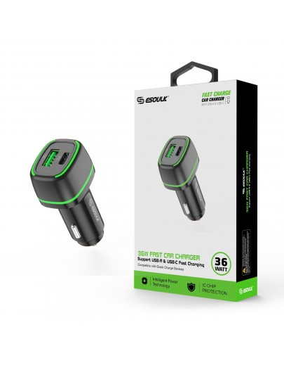 EA15-BK:36W FAST CAR CHARGER  18W PD+18W QC