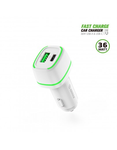 EA15-WH:36W FAST CAR CHARGER  18W PD+18W QC