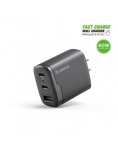 EA18-BK: 40W Dual PD+QC FAST WALL CHARGER
