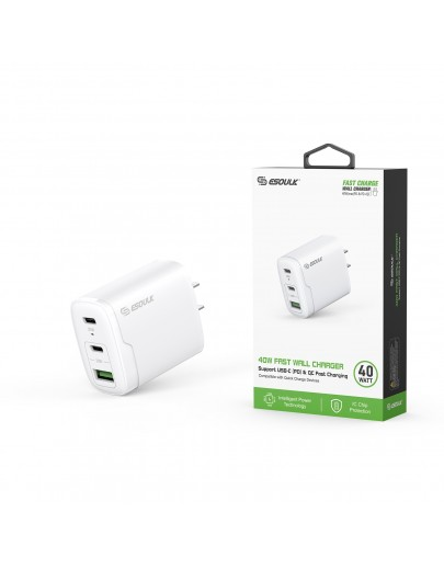 EA18-WH: 40W Dual PD+QC FAST WALL CHARGER