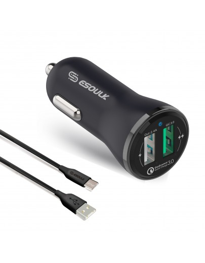 EC04P-TPC-BK : Esoulk 30W Dual USB 2.4A  With QC3.0 Quick Charger Car Adapater with 5ft Cable For Type-C [Qualcomm Certified]