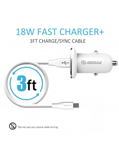 EC05P-TPC-WH:18W QC3.0 Car Charger & 3ft Cable For Type-C White