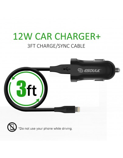 EC06P-IP-BK:12W 2.4A Car Charger & 3ft Cable For iPhone Black