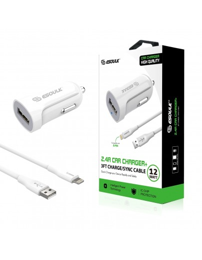EC06P-IP-WH:12W 2.4A Car Charger & 3ft Cable For iPhone White