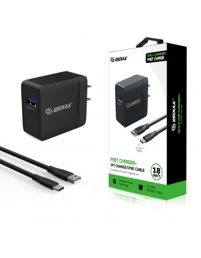 EC07P-TPC-BK: 18W QC3.0 Fast Charger Wall Charger & 5ft Cable For Type-C-Black